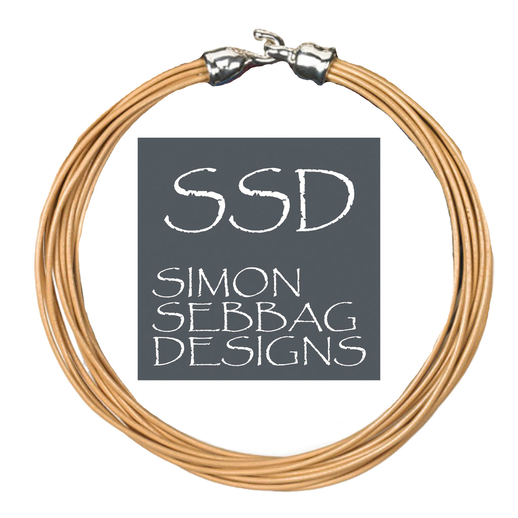 "Simon Sebbag Leather Necklace Nude 17"" Add Sterling Silver Slide"
