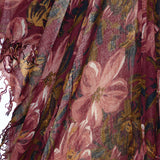 Chan Luu Scarf Soft Cashmere Silk Wrap Tawny Port Painterly Floral