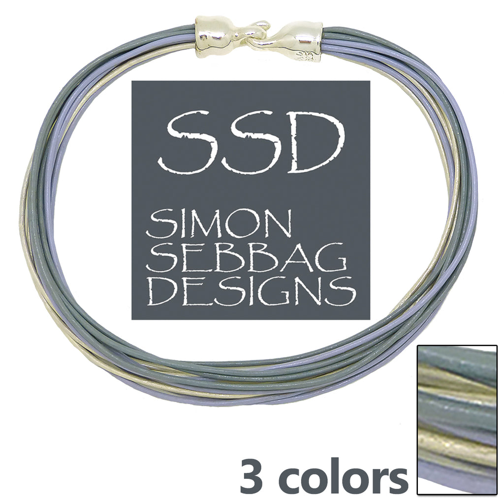 "Simon Sebbag Leather Necklace 3 colors Slate Pearl Sky 17"" Add Sterling Silver Slide"