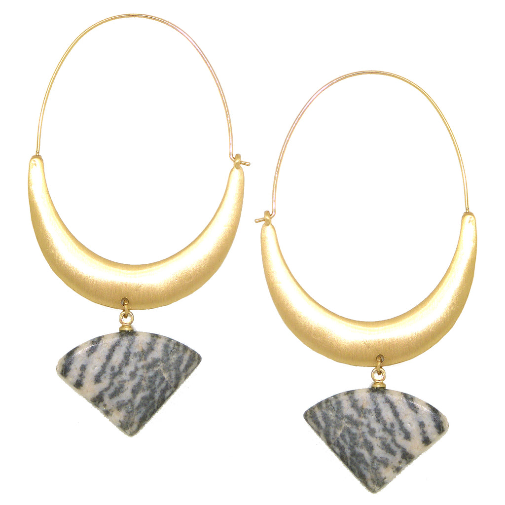 NahMu Oval Hoop Gray Stone Earrings 811 NWT