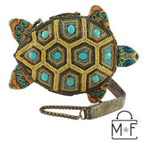 Mary Frances Turtle By The Sea Beaded Crossbody Novelty Handbag 18-405