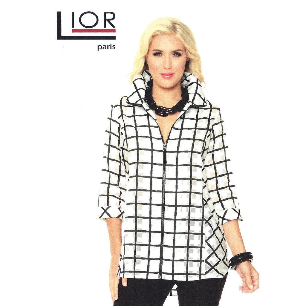 Lior Paris Victoria Zip Front Casual Dress Jacket Three Quarter Sleeve High Low Hem