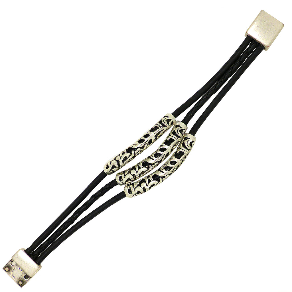 Lilly's Allure Triple Wrap Tibetan Silver Tube Bracelet Black W77 Wear with Uno de 50 - ILoveThatGift