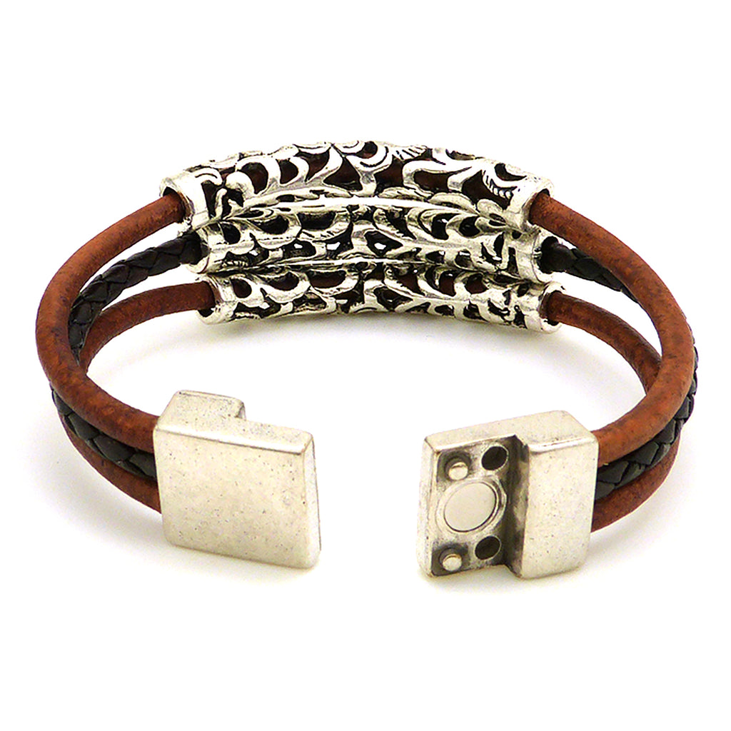 Lilly's Allure Triple Wrap Tibetan Silver Tube Bracelet Brown W77 Wear with Uno de 50 - ILoveThatGift