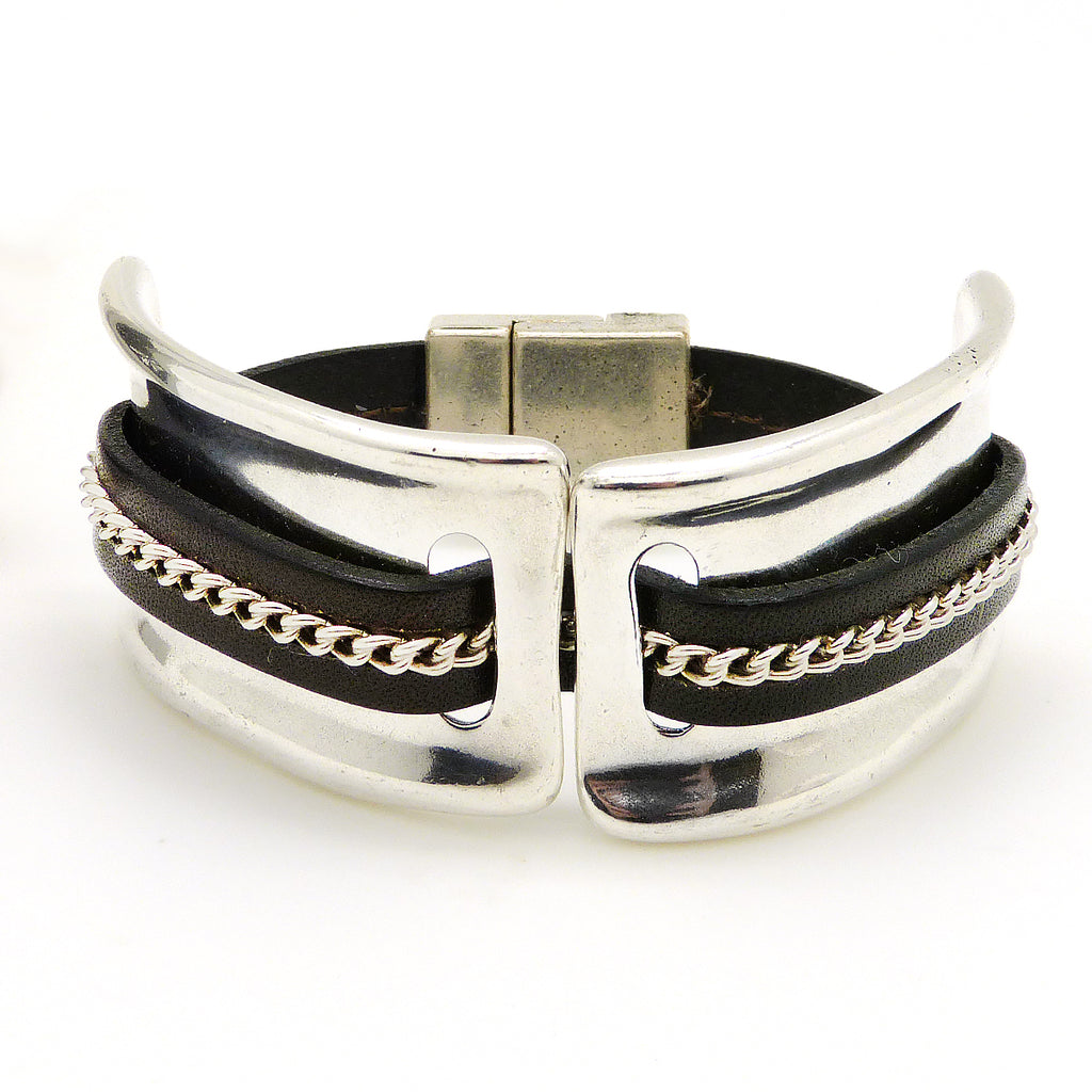 Lilly's Allure Leather Silver Chain Stitched Cuff Bracelet W103 Wear with Uno de 50