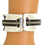 Lilly's Allure Leather Silver Chain Stitched Cuff Bracelet W103 Wear with Uno de 50 - ILoveThatGift