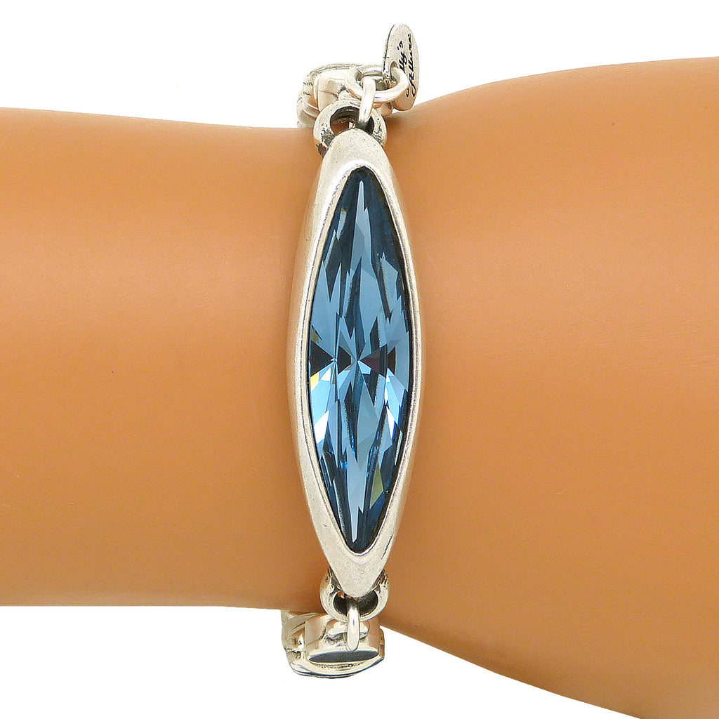 Lilly's Allure Aquamarine Blue Swarovski Crystal Silver Bead Bracelet W176 Wear with Uno de 50 - ILoveThatGift