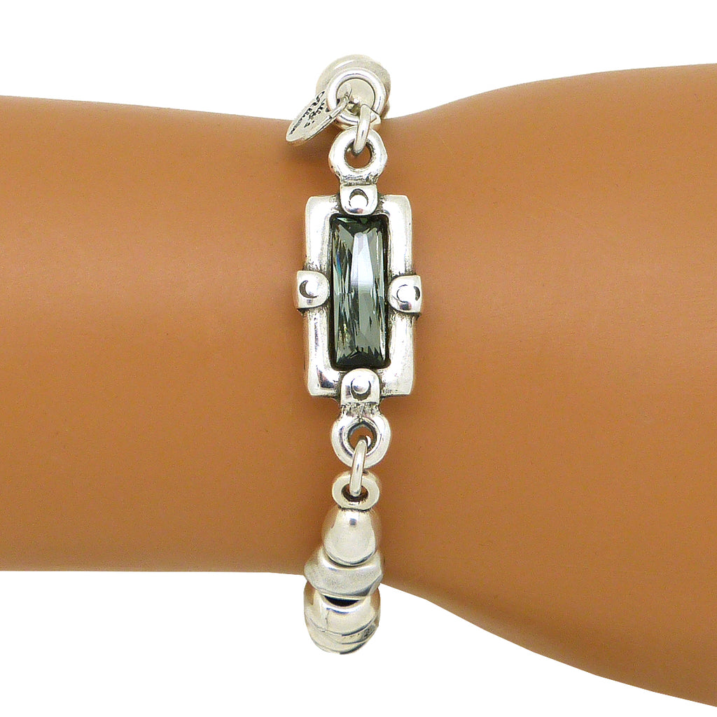 Lilly's Allure Black Swarovski Crystal Silver Bracelet Magnetic W181 Wear with Uno de 50 - ILoveThatGift