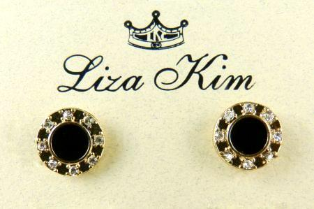 New Round Black Enamel and Rhinestone Circle Necklace & Earring Set by Liza Kim - ILoveThatGift