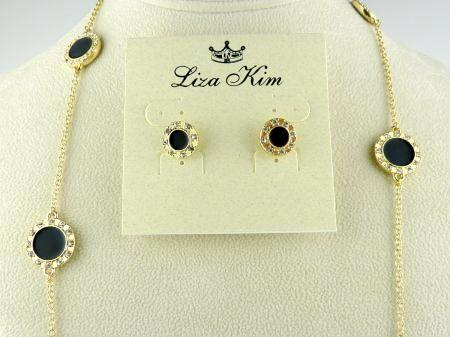 New Round Black Enamel and Rhinestone Circle Necklace & Earring Set by Liza Kim