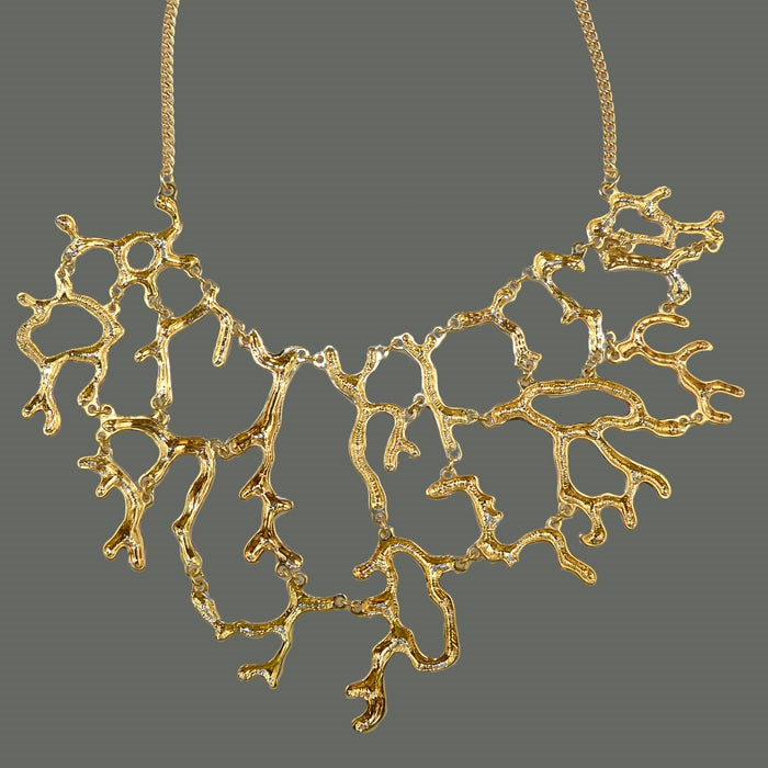 Off White Enamel Coral Branch Bib Necklace & Earring Set - ILoveThatGift