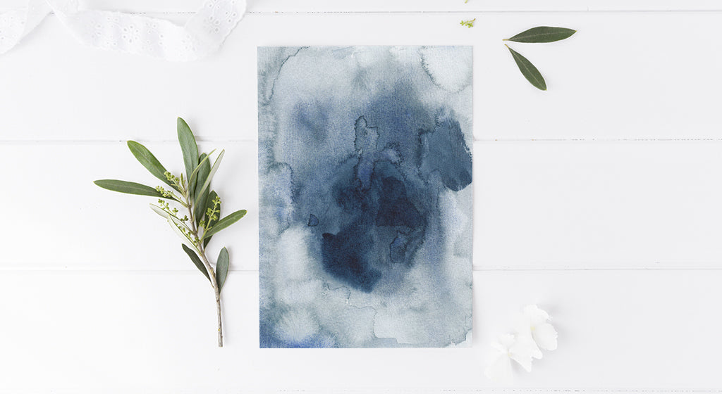 New Collection: Beach Chic Decorating with Abstract Indigo Watercolors