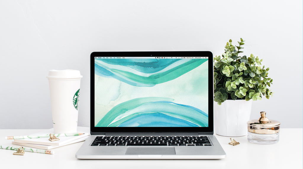 June Freebie: Watercolor Turquoise Swell Wallpaper Download