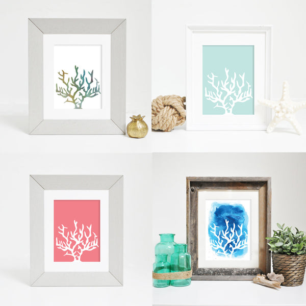 coral ocean prints beach decor
