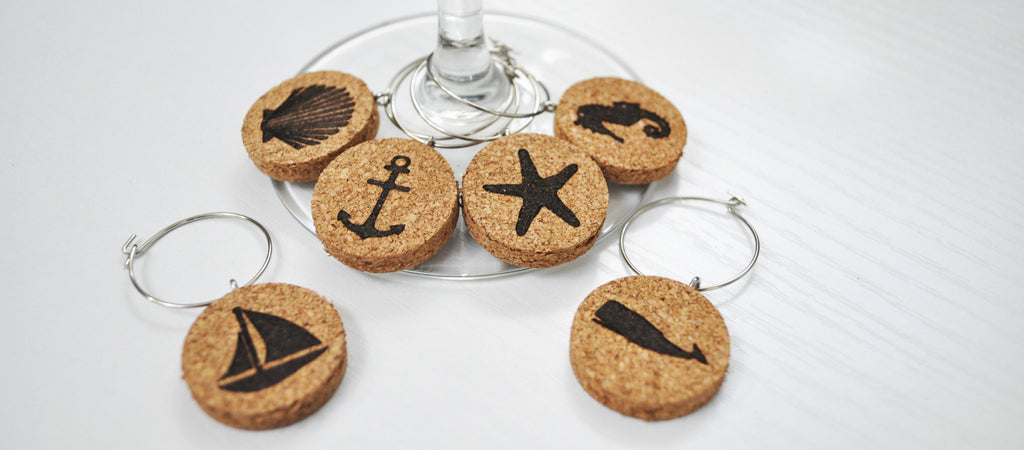 nautical cork wine glass charms in gift box jetty home