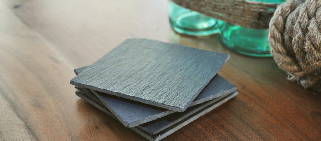 slate coaters with cork backing