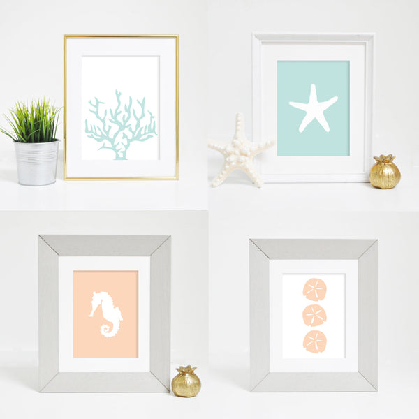 mint and peach art print digital download ocean print