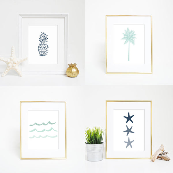 navy blue and mint palm tree pineapple wall art prints