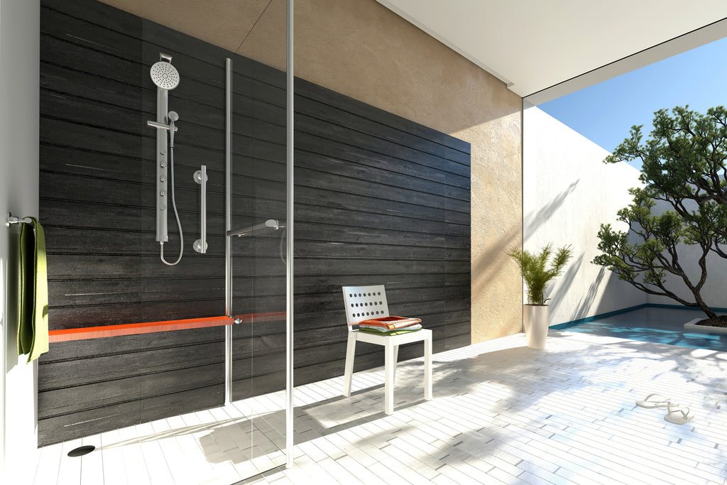 outdoor shower at the beach