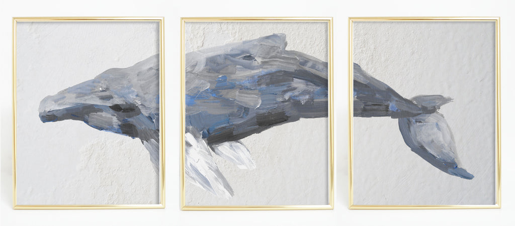 humpback whale triptych painting