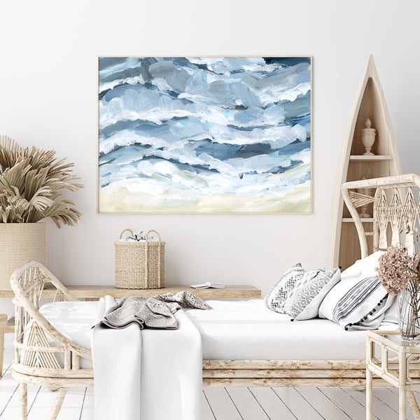 Waves and the Shoreline Painting Wall Art Print or Canvas - Jetty Home