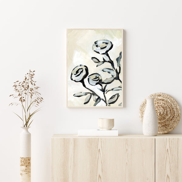 Rose Floral Painting Sophisticated Modern Wall Art Print or Canvas - Jetty Home