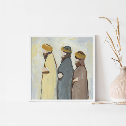 Three Wise Men Modern Christmas Painting Wall Art Print or Canvas - Jetty Home