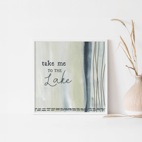 Take Me to the Lake Neutral Modern Wall Art Print or Canvas - Jetty Home