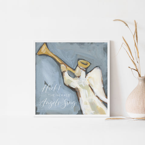 Hark the Herald Angels Sing Modern Christmas Painting Wall Art Print or Canvas - Jetty Home