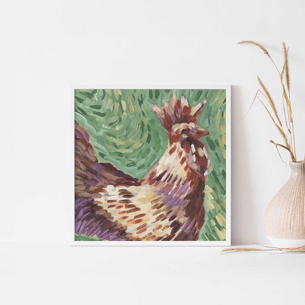 Rooster Bright Farmhouse Painting Wall Art Print or Canvas - Jetty Home