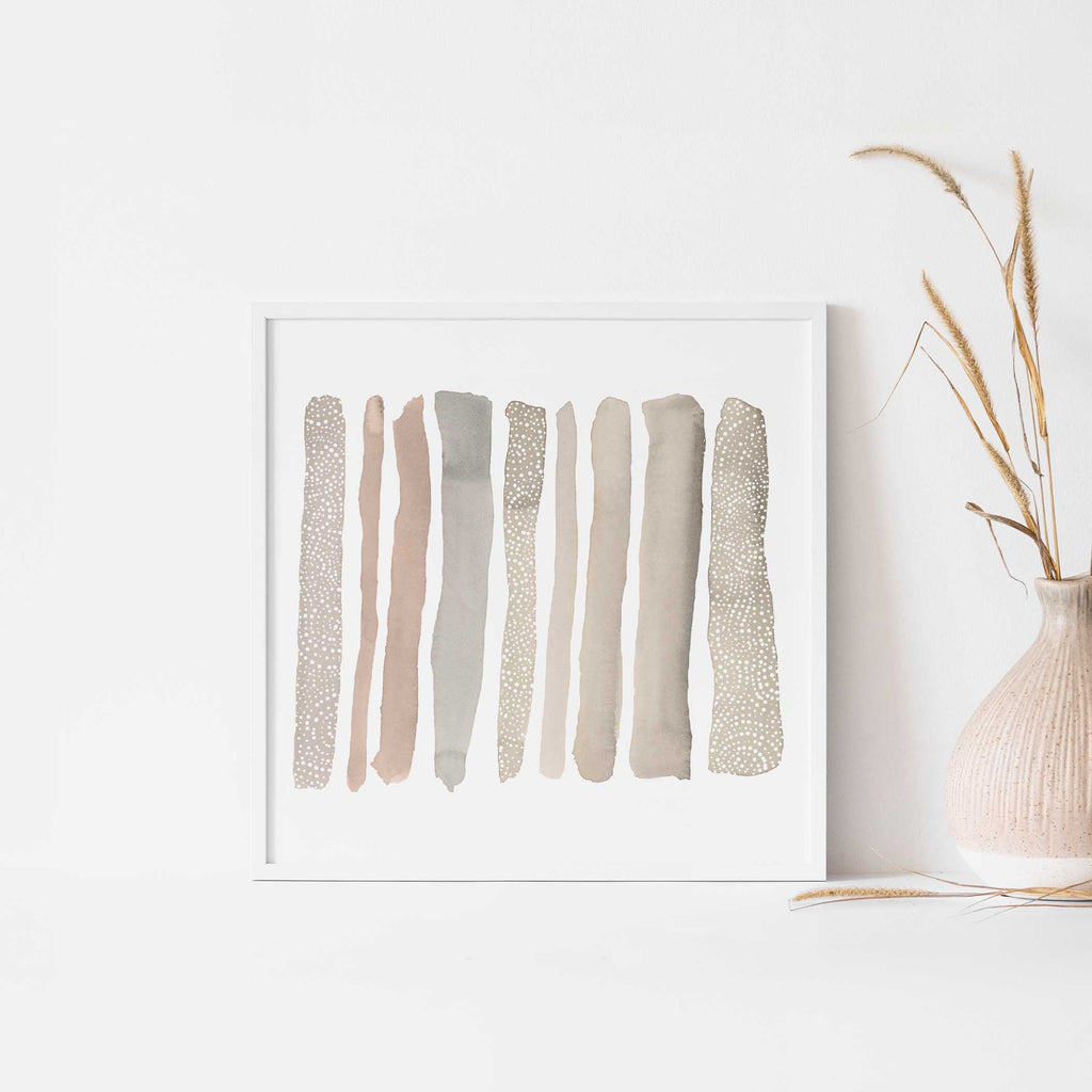 Simple Earth Tones Watercolor Stripes Wall Art Print or Canvas - Jetty Home