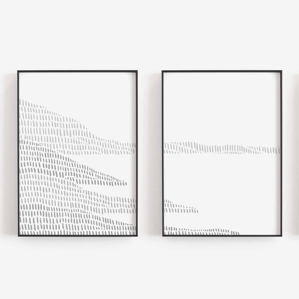 Gray and White Modern Coastline Diptych Set of 2 Wall Art Print or Canvas - Jetty Home