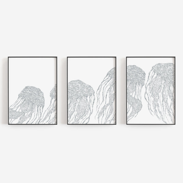 Jellyfish Ocean Creature Beach House Triptych Set of Three Wall Art Prints or Canvas - Jetty Home