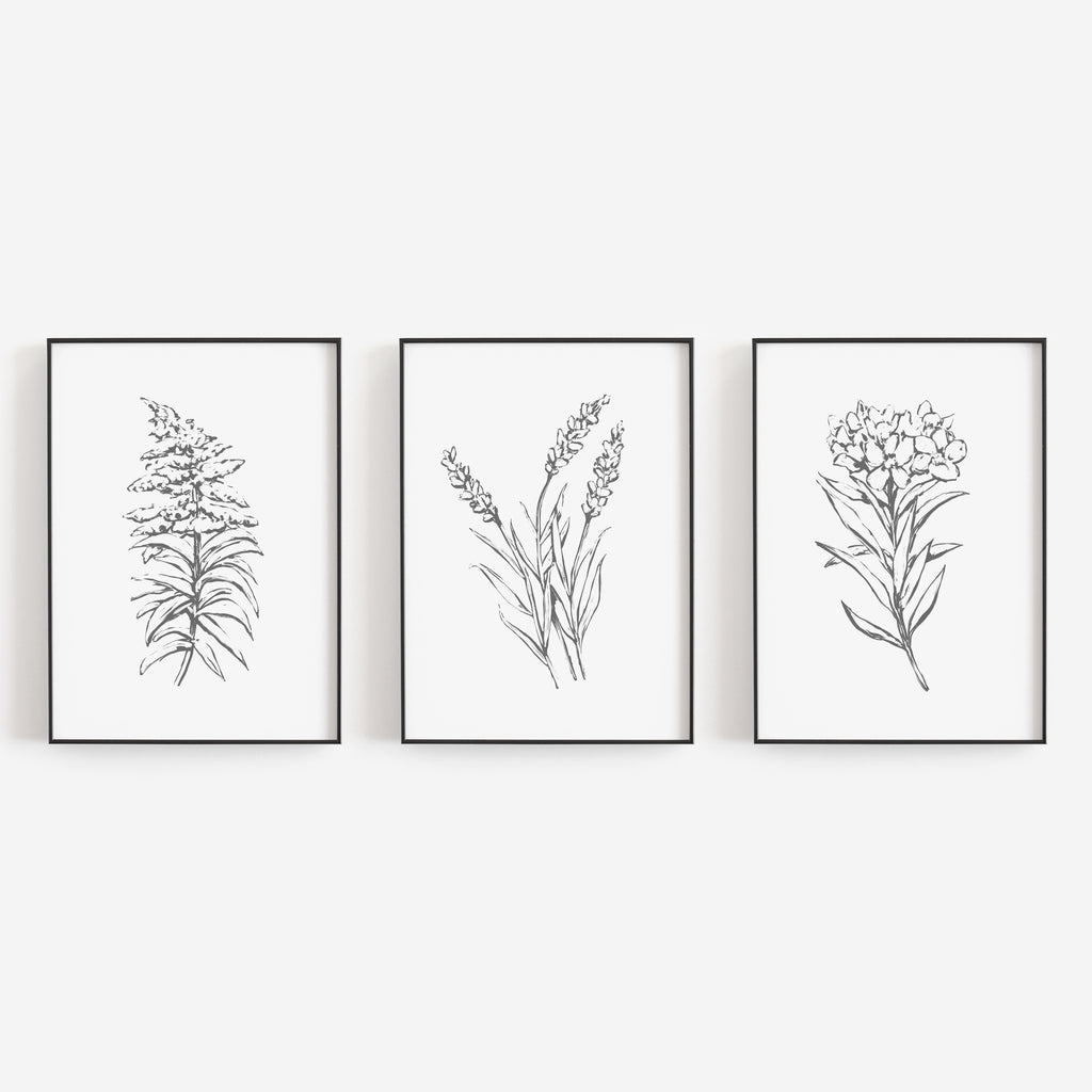 Minimalist Flowers Gray And White Triptych Set Of Three Wall Art Print Jetty Home