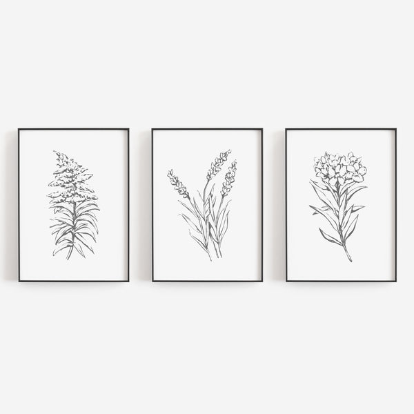 Minimalist Flowers Gray and White Triptych Set of Three Wall Art Prints or Canvas - Jetty Home