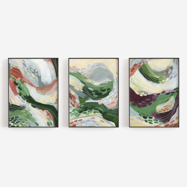 Abstract Landscape Field Scene Triptych Set of Three Wall Art Prints or Canvas - Jetty Home
