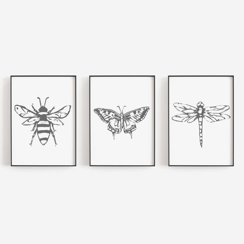 Bee, Dragonfly and Butterfly Illustration Triptych Set of Three Wall Art Prints or Canvas - Jetty Home