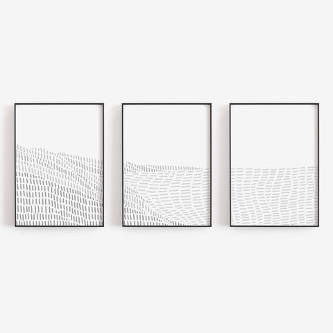 Gray Coastline Modern Beach Triptych Set of Three Wall Art Prints or Canvas - Jetty Home