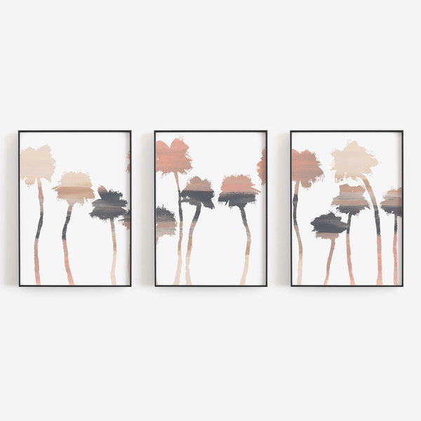 Palm Tree Trendy Desert Neutral Decor Triptych Wall Art Print or Canvas - Jetty Home