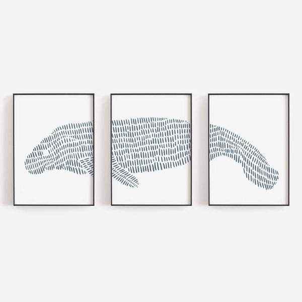 Manatee Florida Themed Modern Beach Triptych Set of Three Wall Art Prints or Canvas - Jetty Home