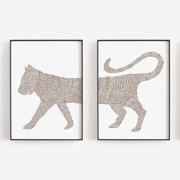 Modern Minimalist Tiger Illustration Tropical Set of 2 Wall Art Print or Canvas - Jetty Home