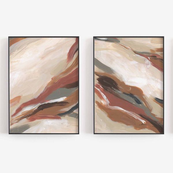 Abstract Neutral Earth Tones Burnt Orange Paintings Set of 2 Wall Art Print or Canvas - Jetty Home