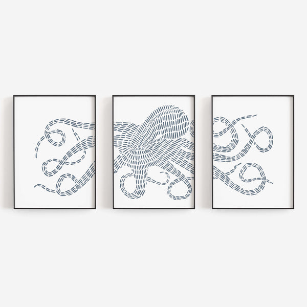 Octopus Kraken Modern Nautical Triptych Set of Three Wall Art Prints or Canvas - Jetty Home