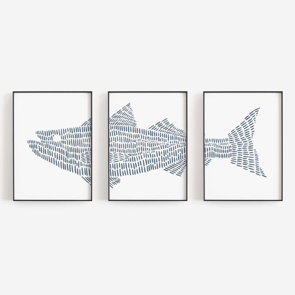 Striped Bass Fish Nautical Triptych Set of Three Wall Art Prints or Canvas - Jetty Home