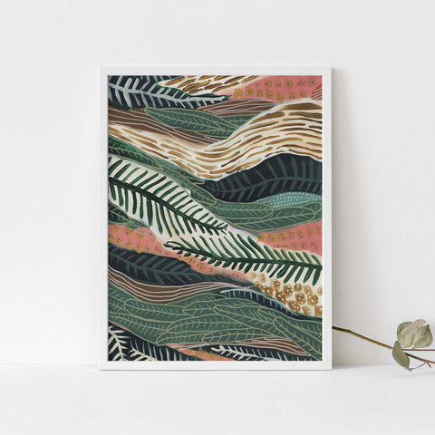 Lush Tropical Jungle Painting Botanical Modern Wall Art Print or Canvas - Jetty Home