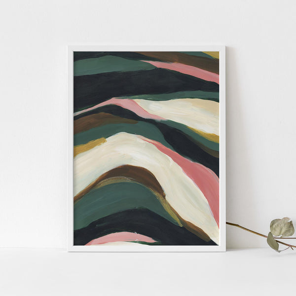 Abstract Tropical Painting Green and Beige Modern Wall Art Print or Canvas - Jetty Home
