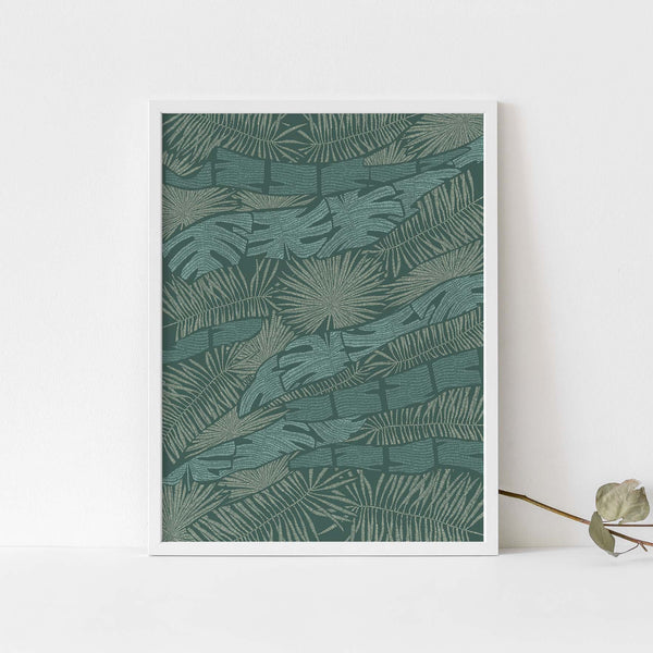 Into the Jungle Green Tropical Botanical Palm Wall Art Print or Canvas - Jetty Home