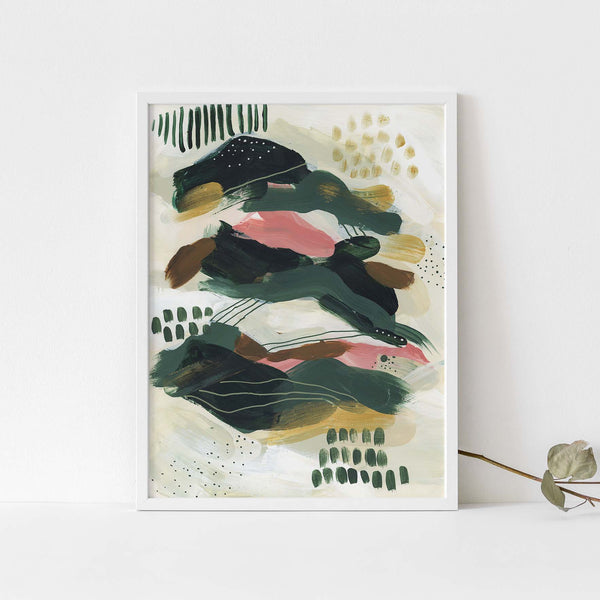Abstract Contemporary Green and Beige Tropical Wall Art Print or Canvas - Jetty Home