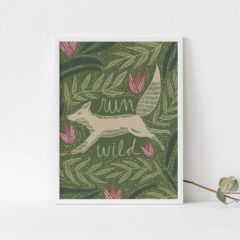 Run Wild Fox Modern Scandi Inspired Green Wall Art Print or Canvas - Jetty Home