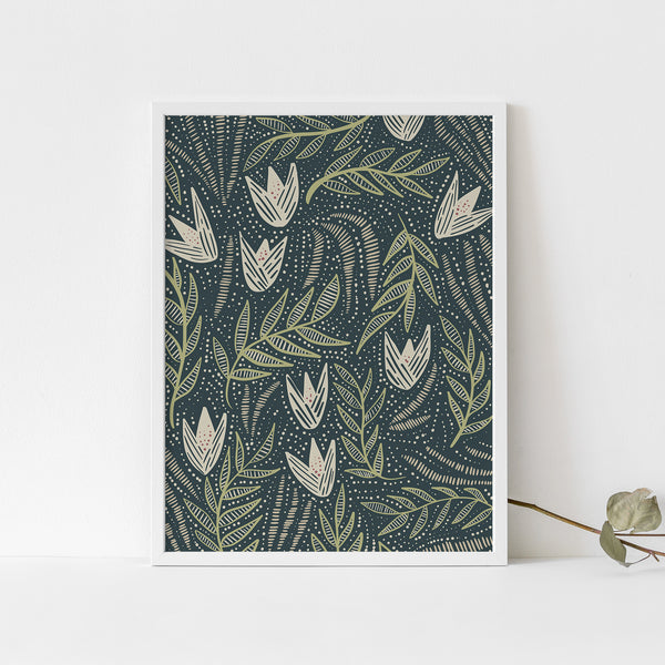 Blue and Beige Modern Floral Wildflower Illustration Wall Art Print or Canvas - Jetty Home